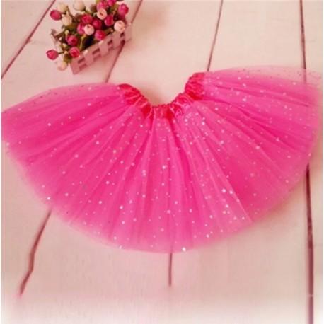 Ryškiai rožinis pūstas žvaigždėtas TUTU sijonas