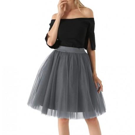 Pilkas sijonas, 60 cm. ilgio (5 sluoksniai)