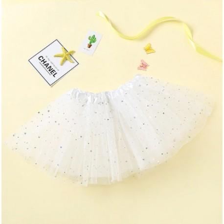 Baltas pūstas žvaigždėtas TUTU sijonas