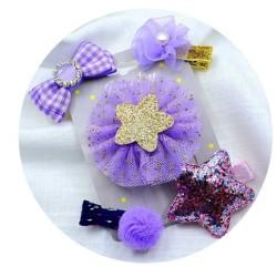 Violetiniai plaukų segtukai, 5 vnt.