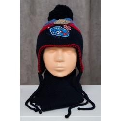 Tamsiai mėlynas komplektukas: kepurė + šalikėlis