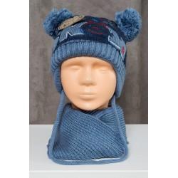Mėlynas komplektukas: kepurė + šalikėlis