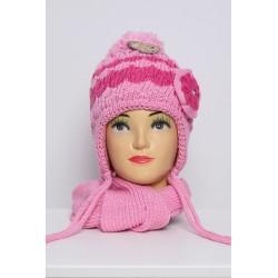 Rožinis komplektukas: kepurė + šalikėlis