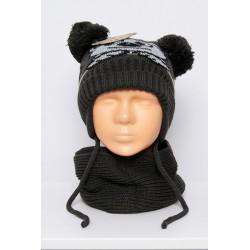 Tamsiai pilkas komplektukas: kepurė + šalikėlis