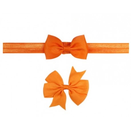 Oranžinė galvos juostelė ir plaukų segtukas