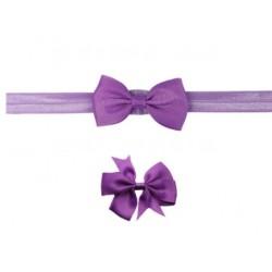 Violetinė galvos juostelė ir plaukų segtukas