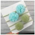 Žalios/mėtinės plaukų gumytės, 4 vnt