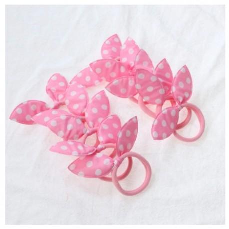 Rožinės plaukų gumytės, 5 vnt