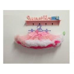 Rožinių spalvų pūstas sijonas, 33 cm ilgio
