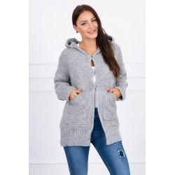 Pilkas megztinis su kapišonu