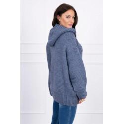 Džinso spalvos megztinis su kapišonu