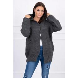 Tamsiai pilkas megztinis su kapišonu