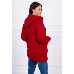 Raudonas megztinis su kapišonu