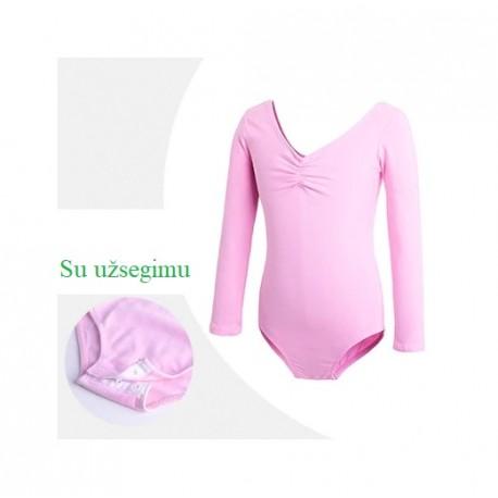 Rožinis triko, ilgomis rankovėmis, su užsegimu