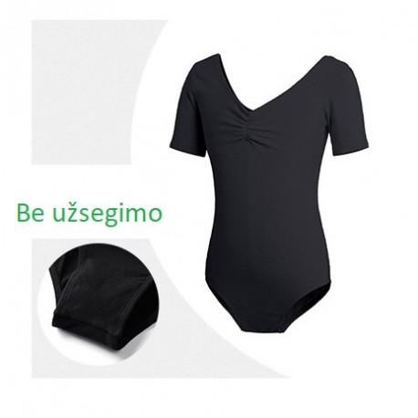 Juodas triko, trumpomis rankovėmis, be užsegimo