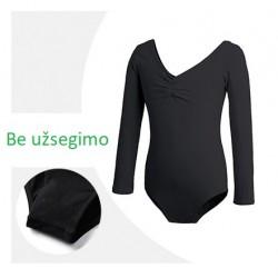 Juodas triko, ilgomis rankovėmis, be užsegimo