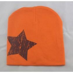 Kepurytė mažiesiems, oranžinė su žvaigžde